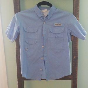 Boys blue button down shirt